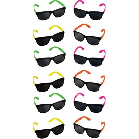 Neon 80's Style Party Sunglasses with Dark Lens - Kids / Teenage Pack (Pack of 12), plastic By Rhode Island Novelty (Cheap Neon Sunglasses)