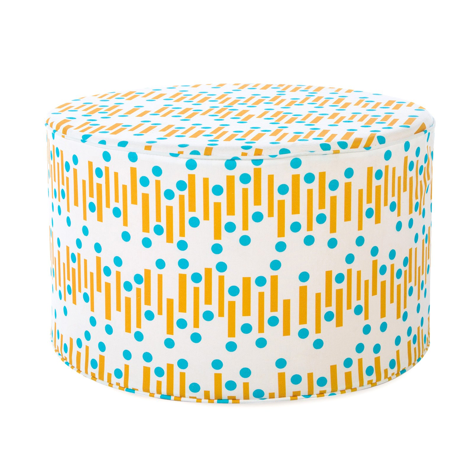 Coral Coast Mid-Century Modern 25 in. Round Pouf Outdoor Ottoman by