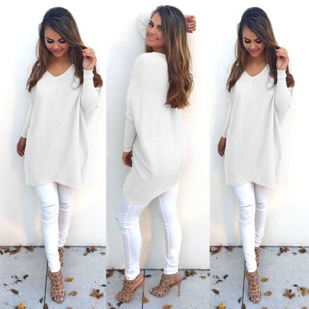 Women Pullover Sweater Female Autumn Long Sleeve Sweater Fashionable V-neck Long Loose Sweater Ladies Girls Clothes
