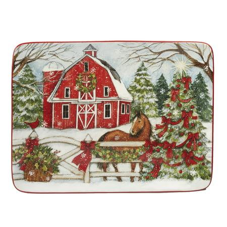 "Christmas on the Farm Rectangular Platter 16"" x 12"""
