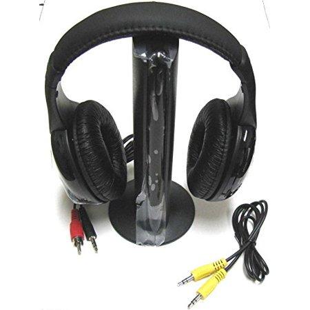 5 in 1 Hi_Fi Wireless Headset Headphone Earphone for TV DVD MP3 PC Black
