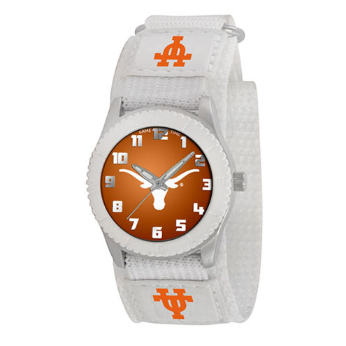 Game Time NCAA Kids' University of Texas Longhorns Rookie Series Watch, White Velcro Strap