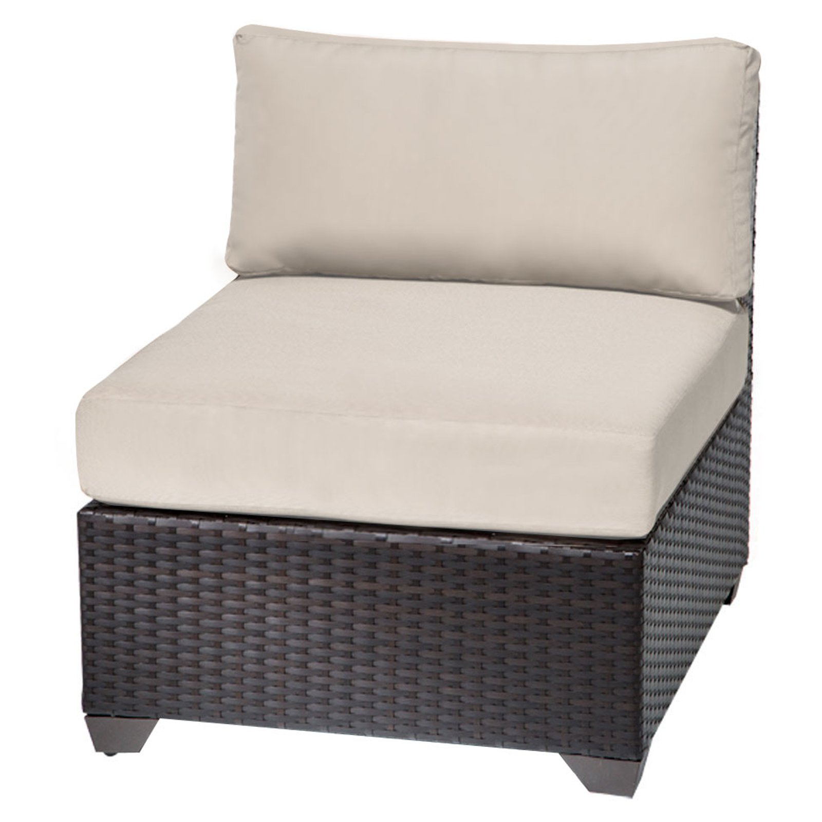 TK Classics Barbados Armless Outdoor Middle Chair with 2 Sets of Cushion Covers