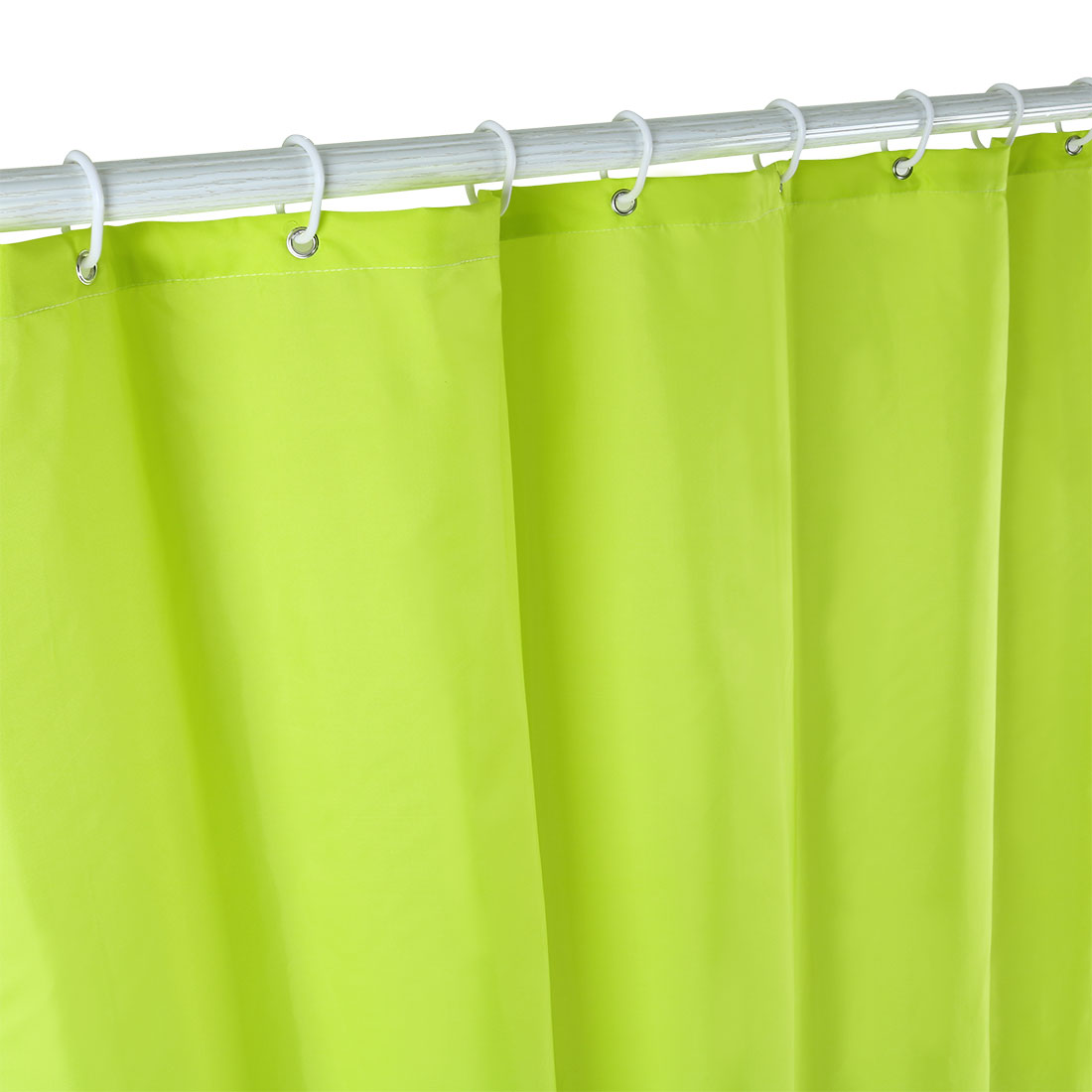 Solid Color Polyester Fabric Shower Curtain with Hooks Green 72 x 78 Inch - image 3 of 8