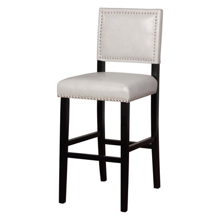 Linon Blake Bar Stool  Dove Gray  30 Inch Seat Height