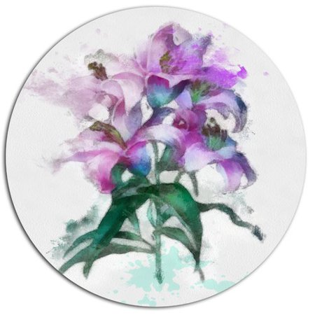 Lilies Oil Painting - Design Art 'Purple Lilies Illustration Drawing' Oil Painting Print on Metal