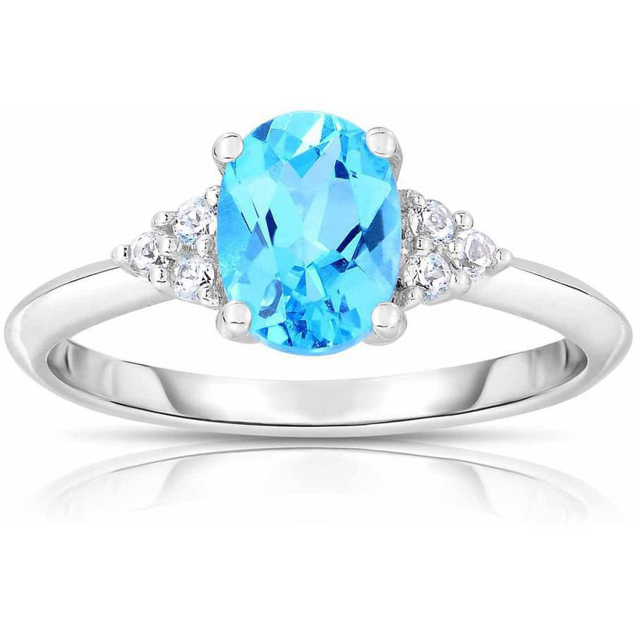 Genuine Blue and White Topaz 10kt White Gold Ring by Quality Color Design
