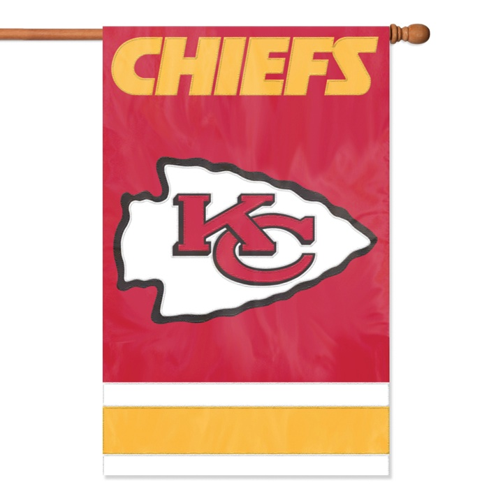 "Kansas City Chiefs NFL Applique Banner Flag """