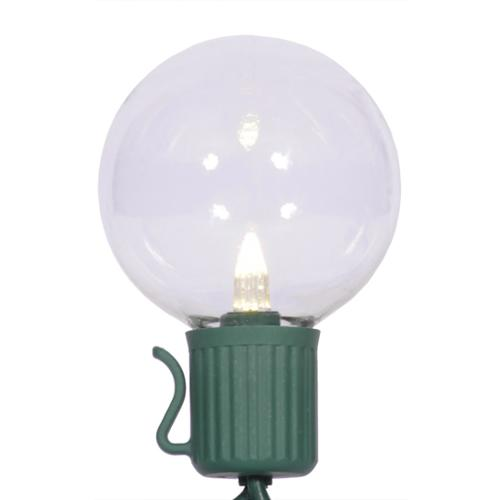Set of 10 LED Clear G40 Globe Christmas Lights - Green Wire