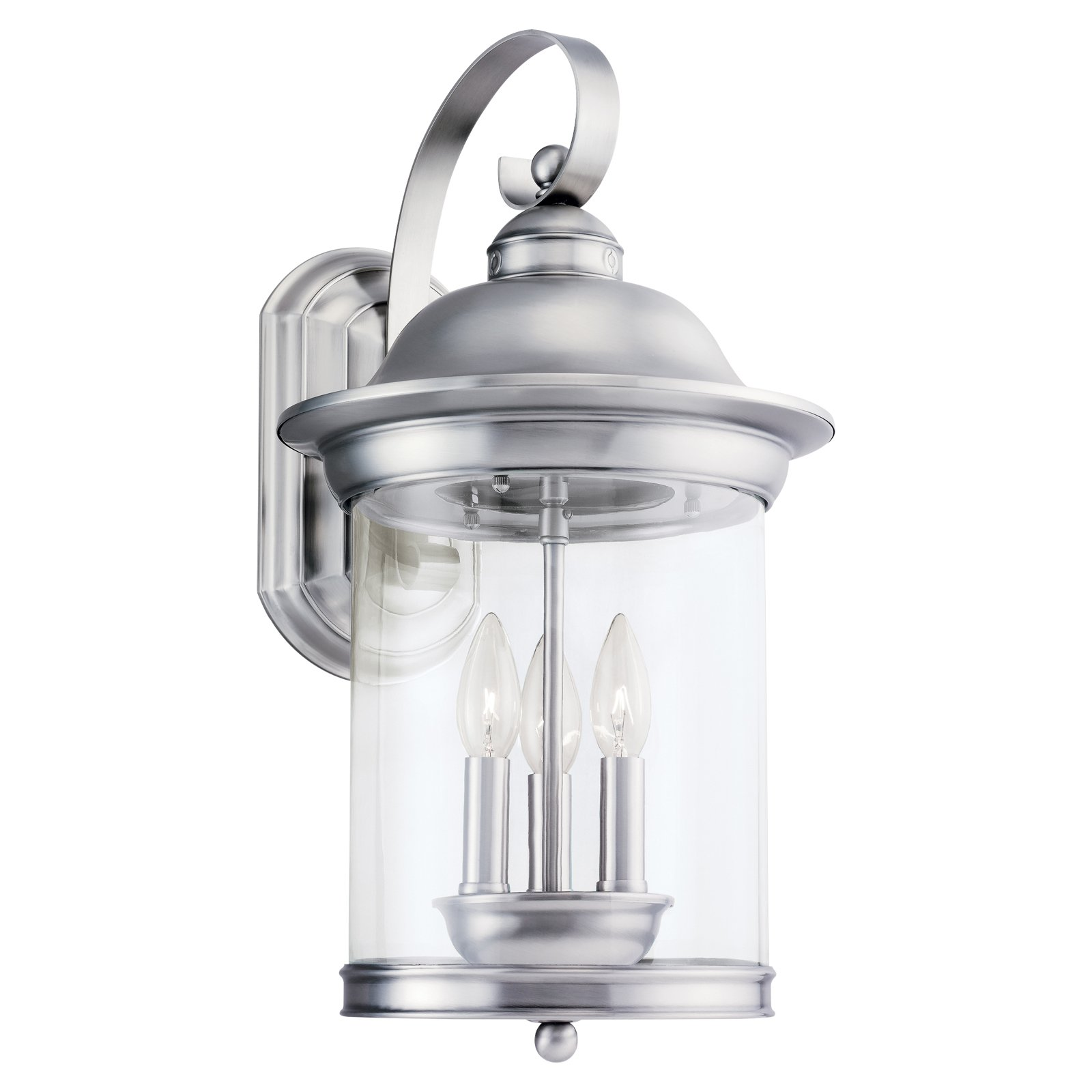 Sea Gull Hermitage Outdoor Wall Lantern - 19.75H in. Antique Brushed Nickel