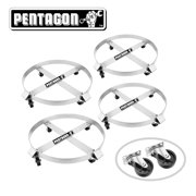 Pentagon Tool | Heavy Duty | 55-Gallon Drum Dolly | 4-Pack | Silver
