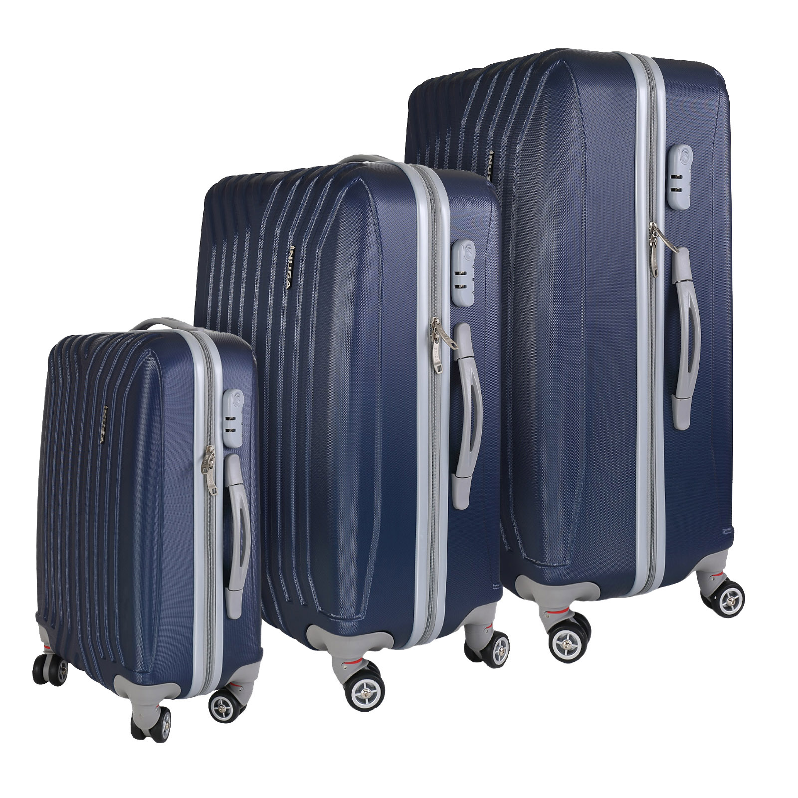 InUSA Miami collection 3-piece lightweight hardside spinner luggage set - IUMIASMB-BLU