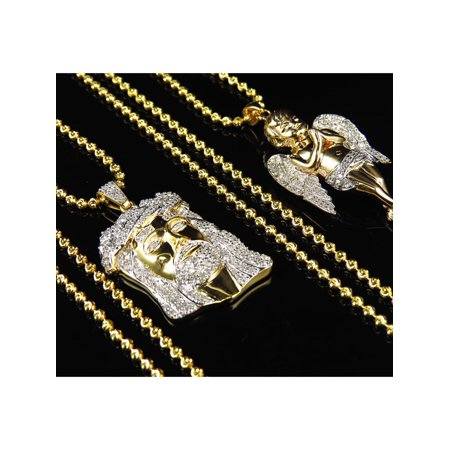 Genuine Diamond Jesus & Angel Piece With Chain Combo In Yellow Gold Finish (1.25ct) 1.5