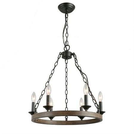 LNC 6 Light Farmhouse Wagon Wheel Pendant Chandelier for Dining Room, -
