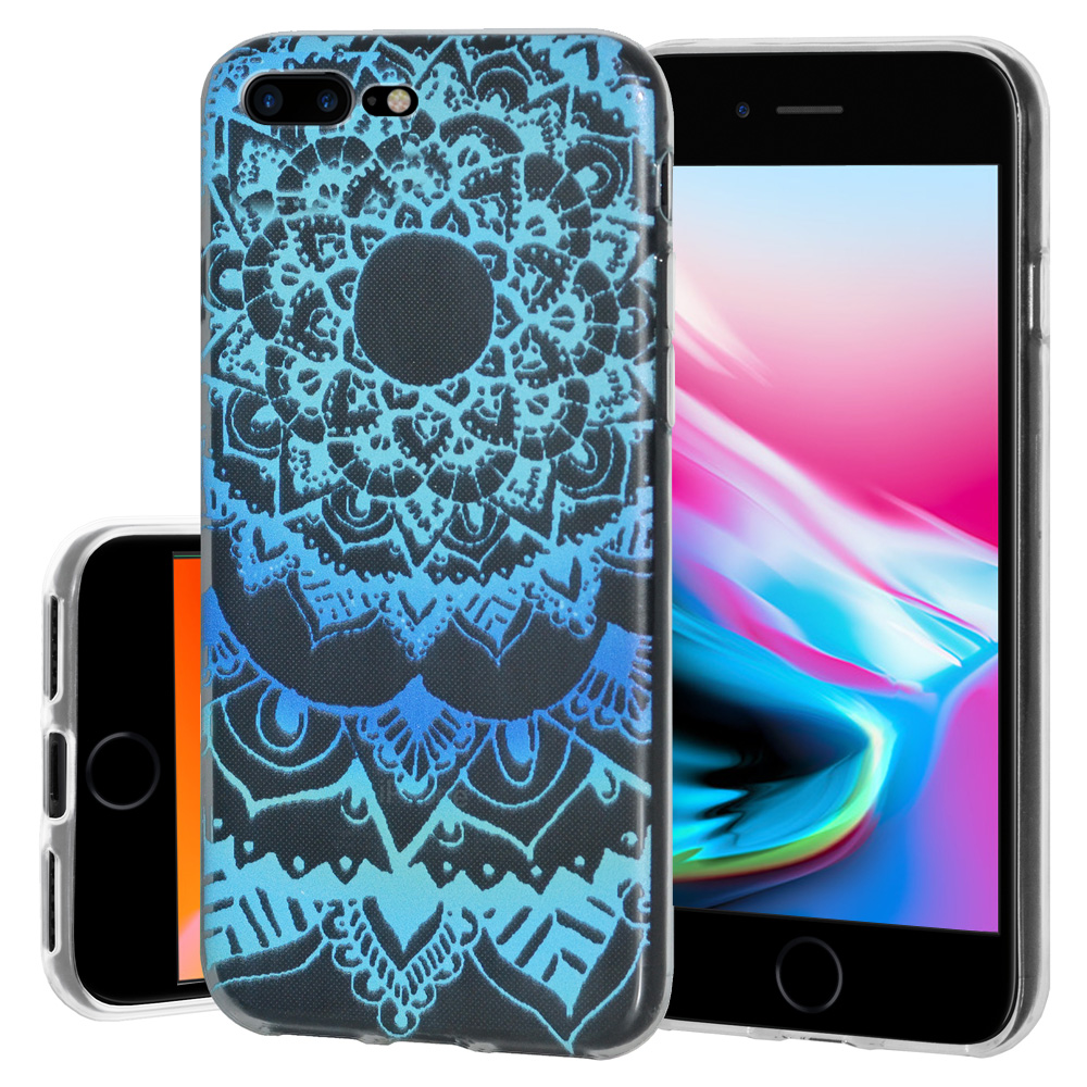 iPhone 8 Plus Case, Premium Soft Gel Clear TPU Graphic Skin Case Cover for Apple iPhone 8 Plus - Mandala Ocean, Support Wireless Charging, Slim Fit, ShockProof