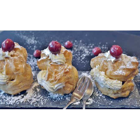 Canvas Print Pastries Bake Baked Goods Cream Puff Delicious Stretched Canvas 10 x 14 (Puff Embroidery)