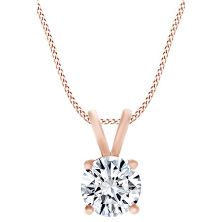 1/2 Carat Round Cut White Natural Diamond Solitaire Pendant Necklace In 14k Solid Rose Gold (0.50 Cttw)