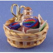 Dollhouse Basket W/Sewing