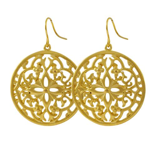 Luxiro Matte Gold Finish Filigree Celtic Circle Medallion Dangle Earrings
