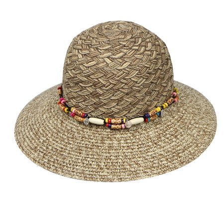Wide Brim Bead (Iuhan Summer Women Large Brimmed Flat Wide Brim Beach Floppy Bead Paper Straw Hat )