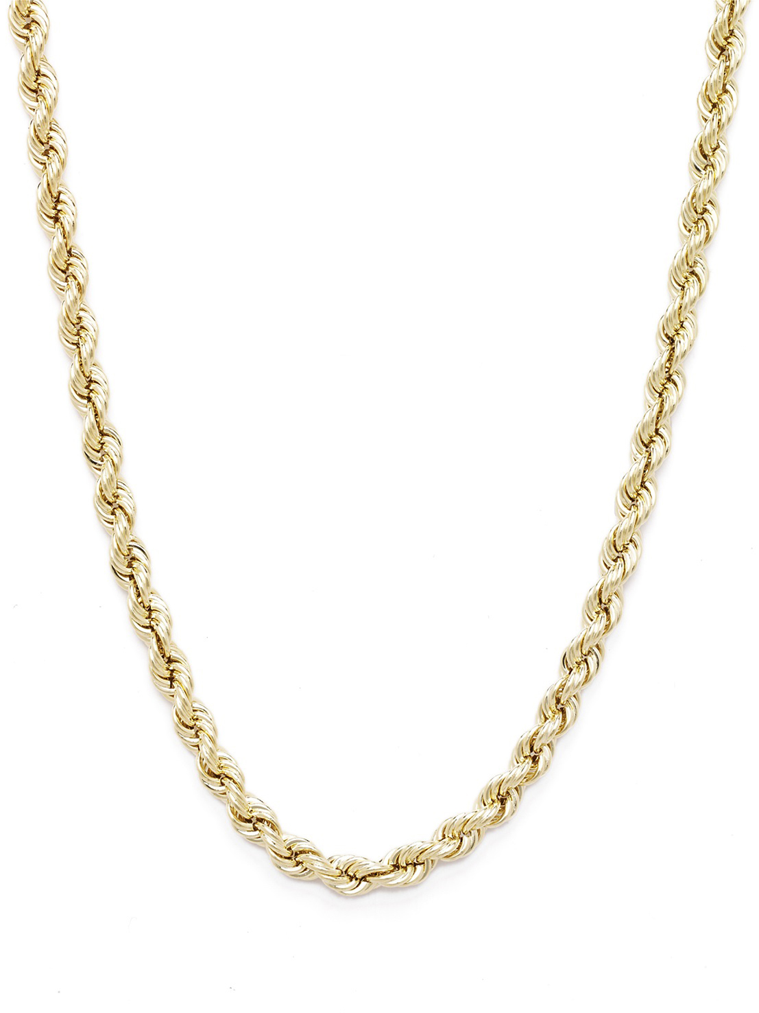 10k Yellow Gold Hollow Rope Chain Necklace with Lobster Claw Clasp for Women and Men, 2mm
