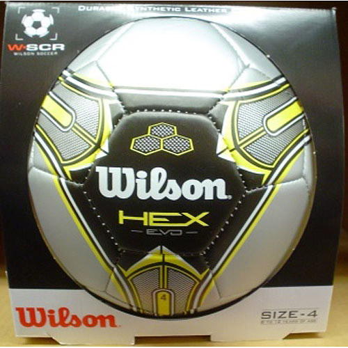 Wilson Hex Evo Soccer Ball, Silver/Yellow, Available in Multiple Sizes