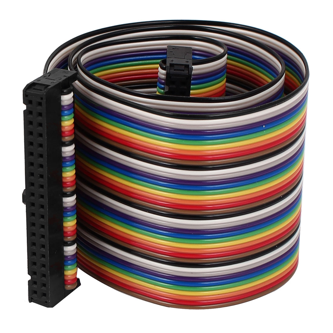 1.4ft 40 Pin 40 Way F/F Connector IDC Flat Rainbow Ribbon Cable