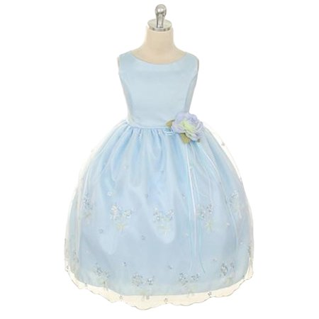 Efavormart Shimmery Satin Bodice and Floral Embroidered Organza overlay Skirt Girl Dress Party Girl Dress Junior Flower Girl Gown