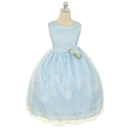 Efavormart Shimmery Satin Bodice and Floral Embroidered Organza overlay Skirt Girl Dress Party Girl Dress Junior Flower Girl Gown - Floral Embroidered Organza Dress