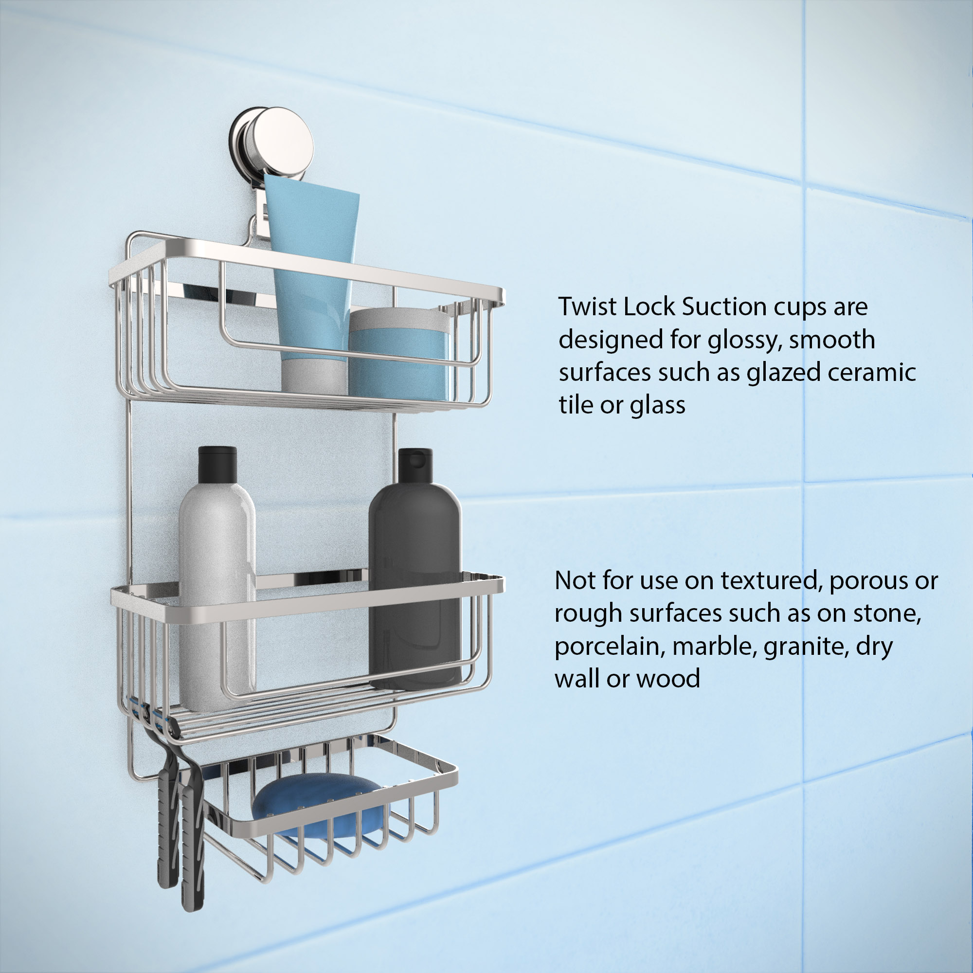 Wall Mounted 3 Tier Shower Caddy- Hanging Shower Storage Rack for ...
