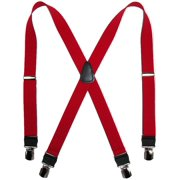 Size one size Men's Elastic Anti Slip Pin Clip Suspenders with Leather Drop Tabs