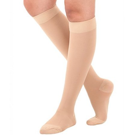 Medical Graduated Compression Below Knee High Firm Support Socks For Men & Woman- Beige