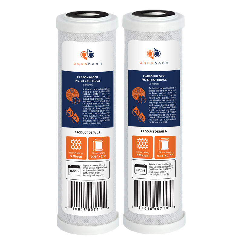 2-PACK of Carbon Block CTO Water Filter Cartridges for RO Reverse Osmosis System by Aquaboon