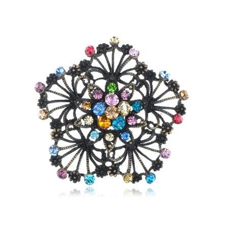 Crystal Flower Floral Brooch (Bridal Wedding Craft Dressy Brass Tone Flower Floral Multi Crystal Brooch Pin )