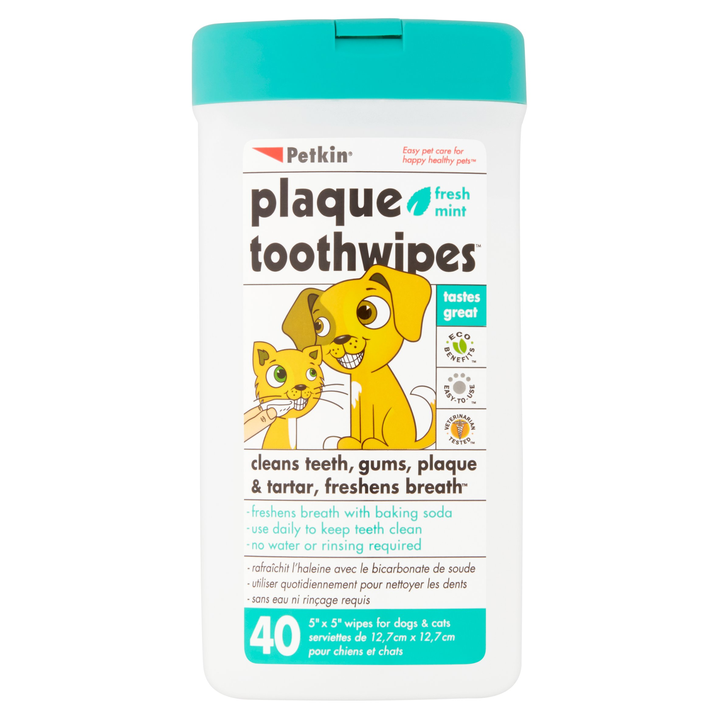 Petkin Fresh Mint Plaque Toothwipes, 40 count