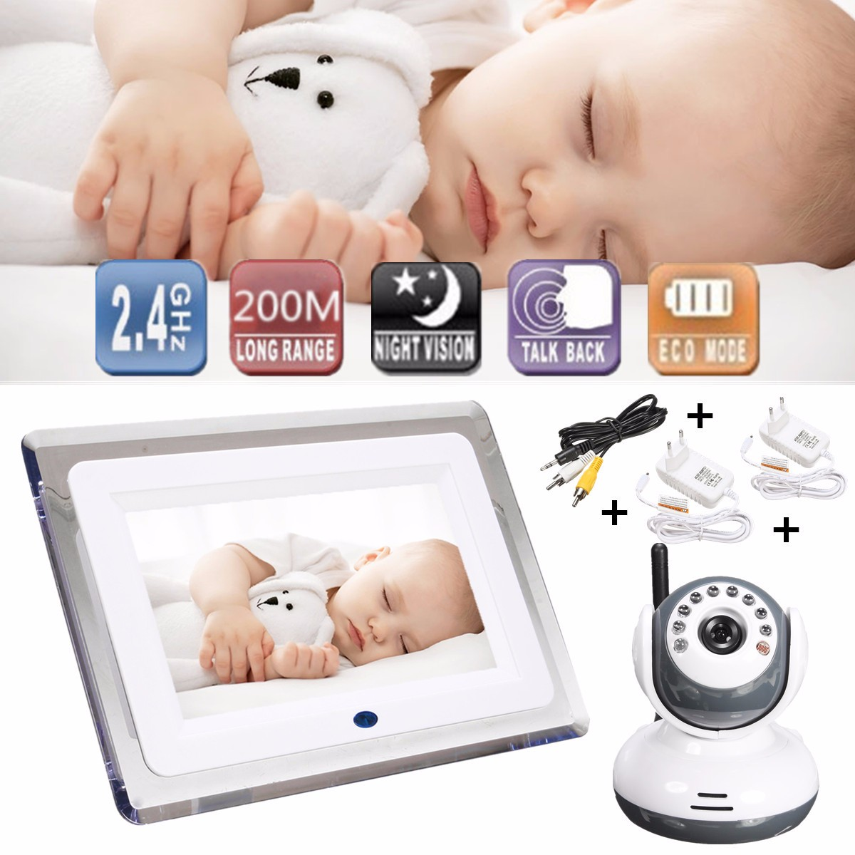 """7"""" LCD Wireless Digital Baby Video Monitor Camera with 24-Hour Day and night monitoring ,Talk to Baby Intercom"""