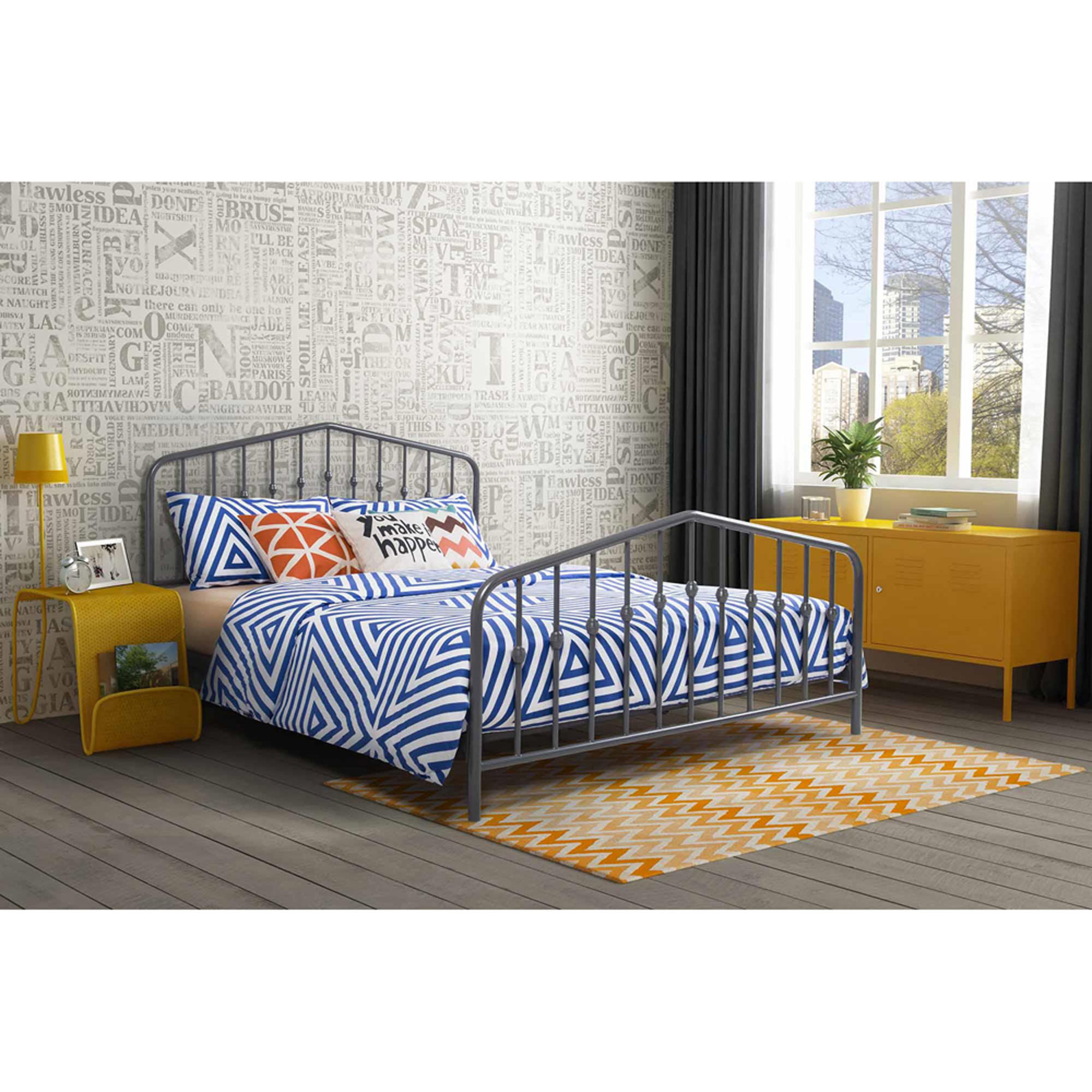 9 by Novogratz Bushwick Queen Metal Bed, Gunmetal Gray