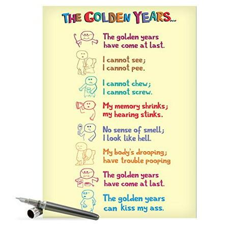 J0449 Jumbo Hilarious Birthday Card Golden Years With Envelope