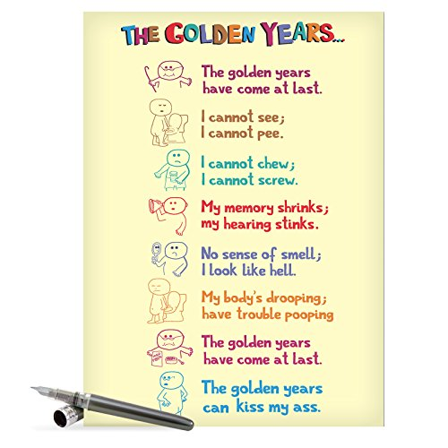 "J0449 Jumbo Hilarious Birthday Card: 'Golden Years' with Envelope (Jumbo Size: 8.5"" x 11"")"