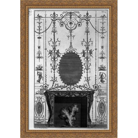 Fireplace: in the frieze of Medusa heads 3 horns of plenty joined by the sides of Aries heads 28x40 Large Gold Ornate Wood Framed Canvas Art by Giovanni Battista Piranesi