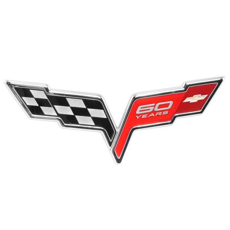 - 2005-13 C6 Corvette 60th Anniversary Rear Trunk Emblem; Black, Red & Chrome OEM GM Badge, For use on any 2005-2013 Corvette and replaces the.., By General Motors