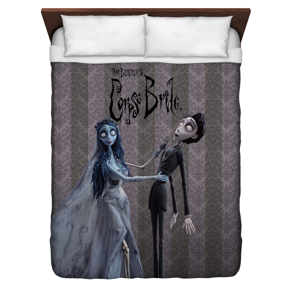 Corpse Bride Bride And Groom Queen Duvet Cover White 88X88