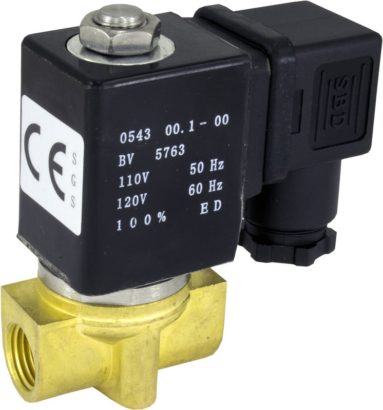 "110v AC 4mm 1/4"" NPT Normally Open Brass NBR 2-Way Solenoid Valve"