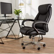 Big & Tall Executive Office Desk Chair - Adjustable with Armrest, 500-Pound Capacity - Black with Pewter Finish, BIFMA Certified