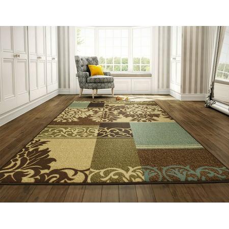 - Ottomanson Ottohome Collection Contemporary Damask Design Non-Slip Rubber Backing Area or Runner Rug, Brown