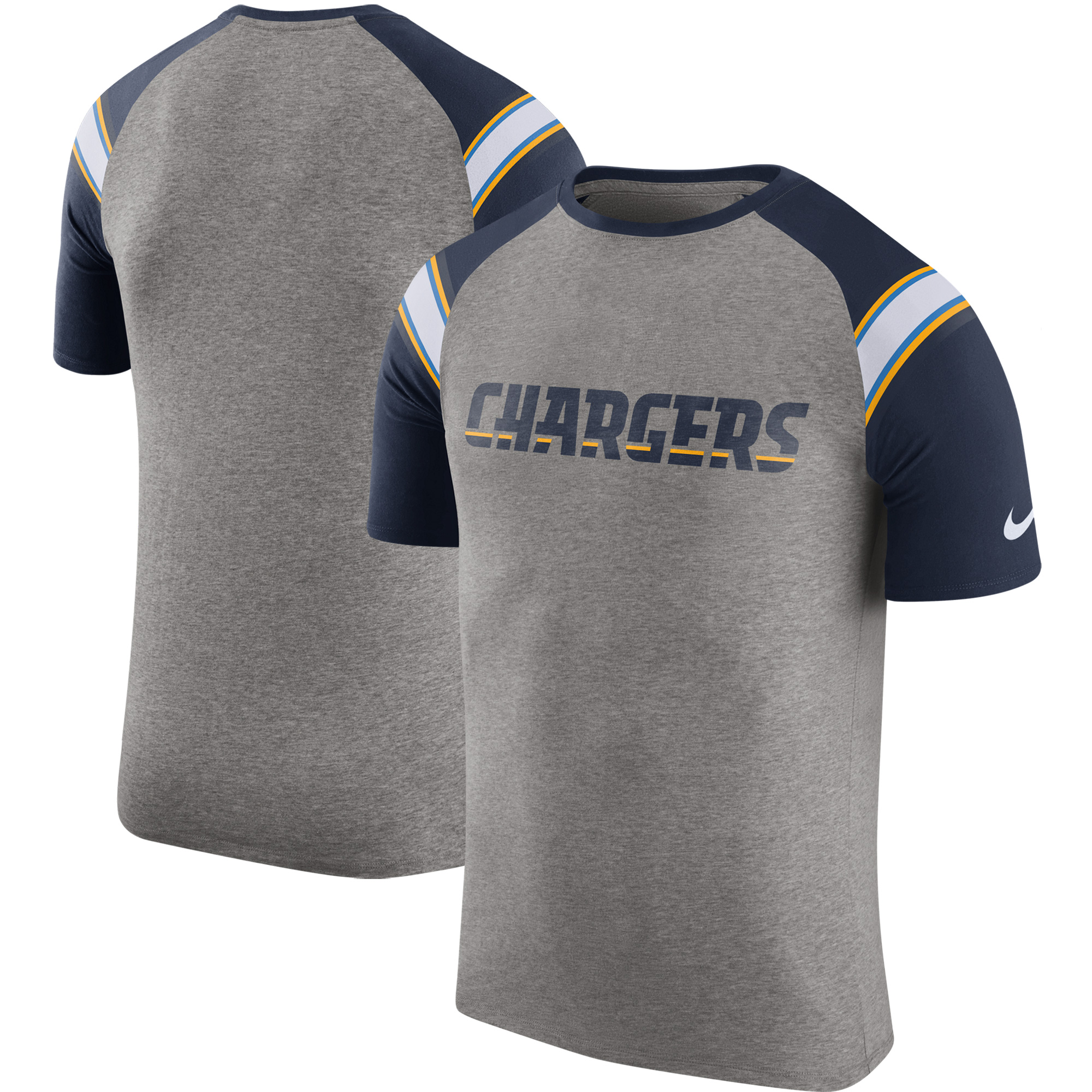 Los Angeles Chargers Nike Enzyme Shoulder Stripe Raglan T-Shirt - Heathered Gray