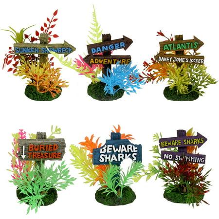 Aqua culture floral sign aquarium ornament for Walmart fish tank decorations