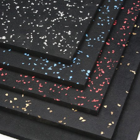 Premium 3/8in x 4ft x 6ft Rubber Gym Flooring Mats - Vulcanized Rubber Flooring Equipment Mats