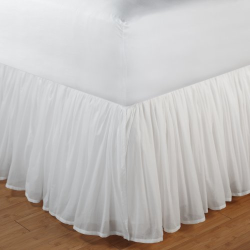 Greenland Home Fashions Cotton Voile Bed Skirt - 18 in. Ruffle - White