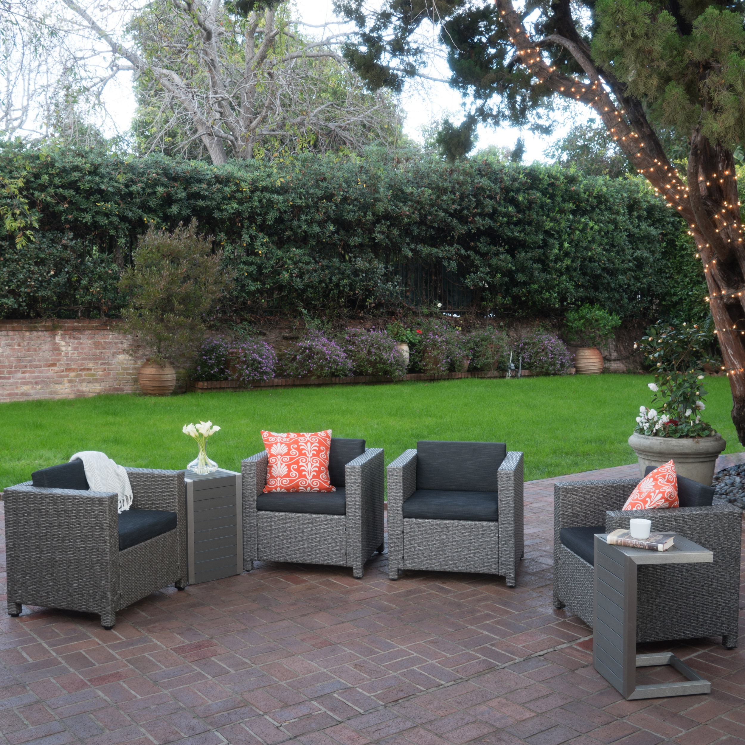 Cascada Outdoor 4 Piece Wicker Club Chairs with Cushions and 2 Natural Finish Polymer Blended Wood C-Shaped Tables, Dark Grey, Mixed Black